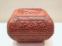 红雕漆花卉四方委角漆盒清代