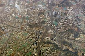 航拍山东济南市区奥体中心地区