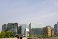 韩国景福宫-首尔城市高楼大厦