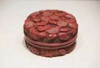 红雕漆荔枝纹圆漆盒