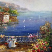 地中海滨海风景油画