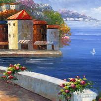 地中海建筑风景油画