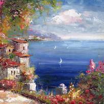 蓝色海岸滨海风景油画