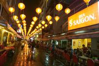 胡志明市休闲街范五老街夜景