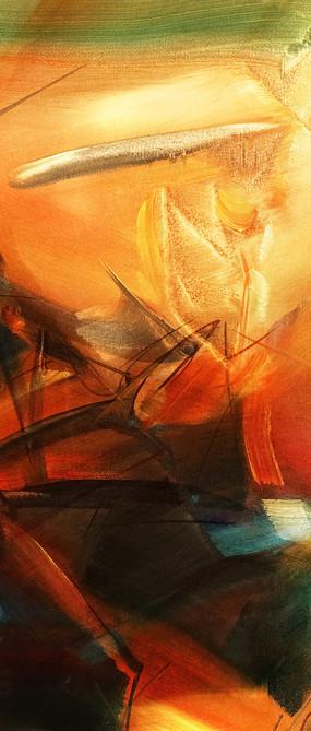 暖色调抽象竖版油画