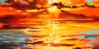 手绘抽象风景装饰画