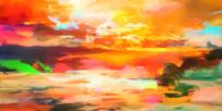 霞光抽象油画风景