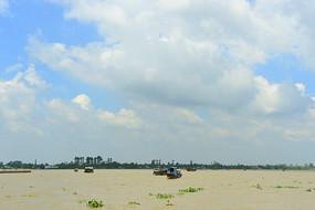 越南九龙江江心岛屿龙岛风光