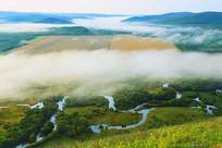湿地丛林河流云雾
