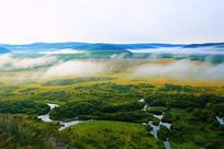 湿地丛林河湾晨雾
