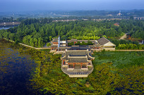 航拍森林中传统中式民居