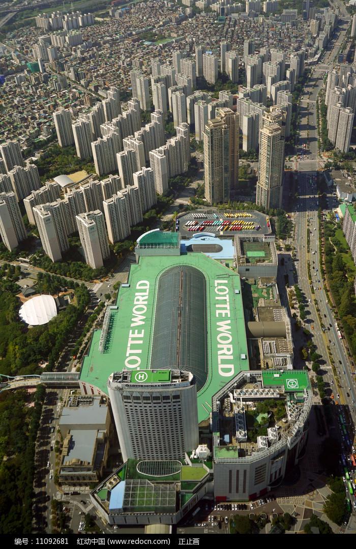 韩国首尔乐天世界主体建筑俯瞰 图片