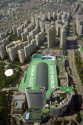 韩国首尔乐天世界主体建筑俯瞰