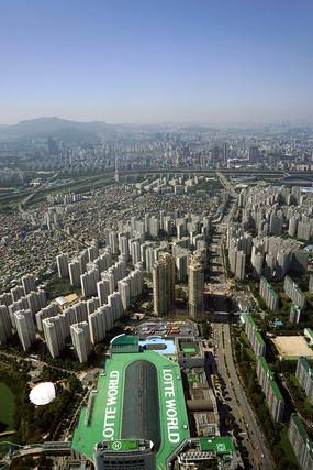 韩国首尔乐天世界主体建筑鸟瞰