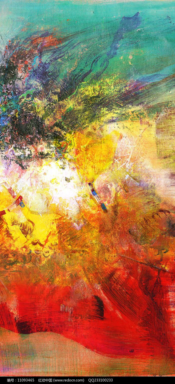红红火火抽象油画图片