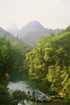 小七孔山谷河流卧龙谷和卧龙河
