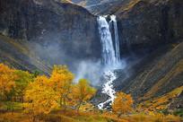 长白山瀑布秋季景观