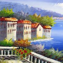 建筑风景油画