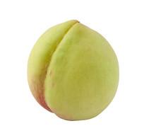 白背景绿色的水果桃子