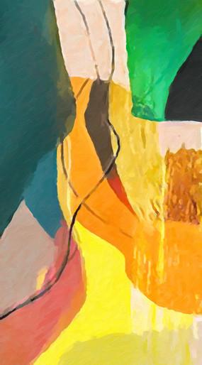 玄关竖版抽象油画壁画