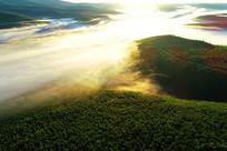 大兴安岭层峦树林晨雾