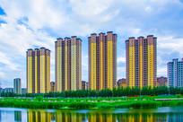 万水河对岸高层建筑群与水草