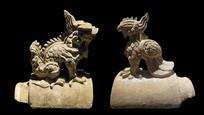 明代古建筑构件-龙凤形琉璃脊兽
