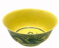 清代嘉庆-黄地绿彩寿字云龙碗