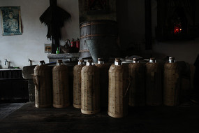 茶馆竹壳热水瓶