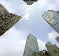 成都春熙路高楼大厦仰拍
