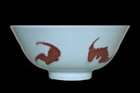 清雍正东青釉里红五蝠碗