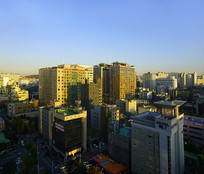 韩国水原城市清晨俯拍