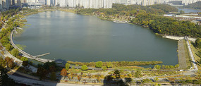 韩国水原光教湖水公园俯瞰