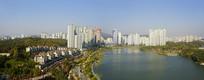 韩国水原光教湖水公园俯拍全景