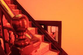 木质楼梯一角