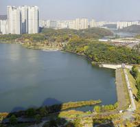 韩国水原光教湖水公园俯拍