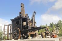 乡村老木车