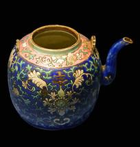 清蓝地粉彩卷草花卉纹瓷壶