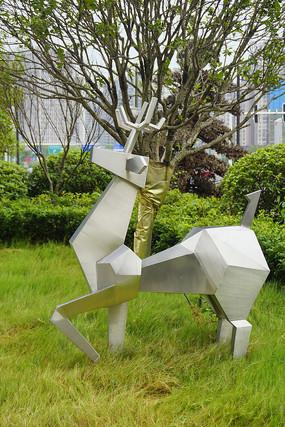 长沙城市不锈钢雕塑-梅花鹿