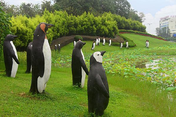 城市路缘花境-企鹅雕塑