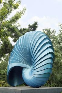 不锈钢雕塑-蓝色海螺