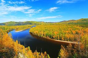 大兴安岭秋季激流河五彩林