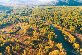 大兴安岭秋季森林河风光