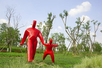 园林雕塑-牵手的父子