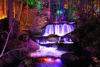 长白山大戏台河森林山溪灯光