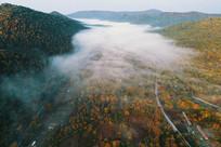 航拍老白山彩林迷雾