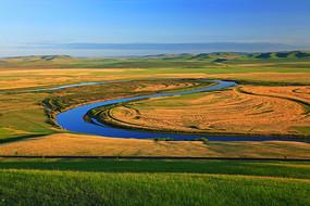 呼伦贝尔草地河湾景色