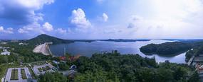 南湾湖大坝侧视全景图