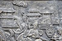 古代仕女弹琵琶浮雕