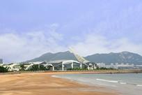 青岛东海岸的海滨青岛规划展览馆